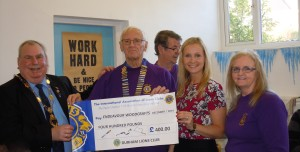 Lion President Alvan Bailey making the presentation of the cheque for £400.00 to Luoise Killip, their manager, with Lions  Peter Oakley and Margaret Gibson. The Deputy Mayor of the Ferryhill Town Council, Ken Cambell is on the left