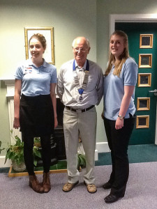 Filey Lion President Tony Nixon with Charlotte Dickinson and Florence Hargreaves