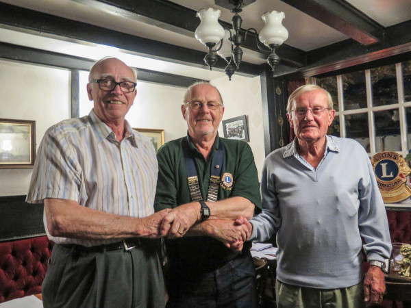 Yarm Lion President John Millingto welcoming ex-Middesbrough Lions Giles Bolitho (left) and Chris Taylor (right)