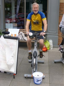 Adrian in his Lions colours cycling for charity