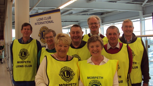 Lions members ready for the Asda bag pack