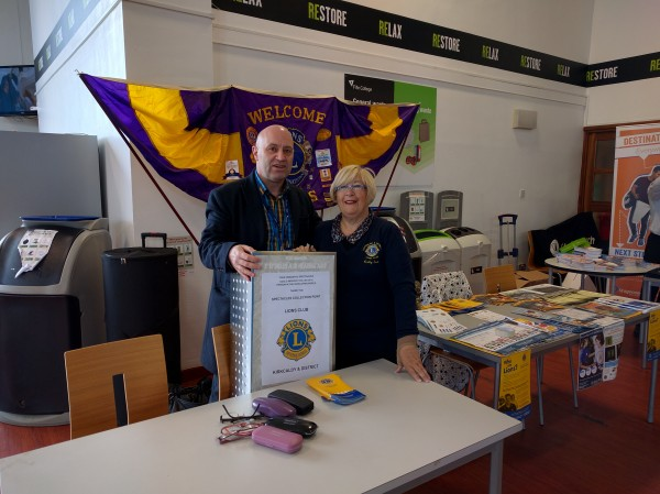 Lion Cathy Scott with Lion Colin Bell, the Secretary of Kirkcaldy and District Lions Club,